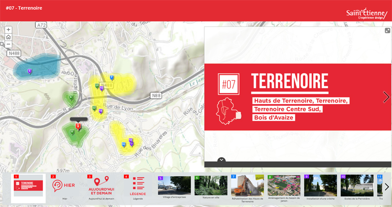 Carte interactive du secteur Terrenoire